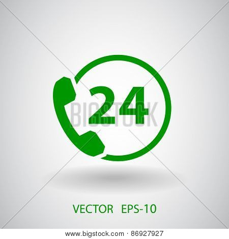 24h support icon, vector illustration