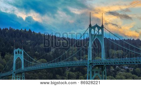 St. John's Bridge In Portland Oregon, Usa