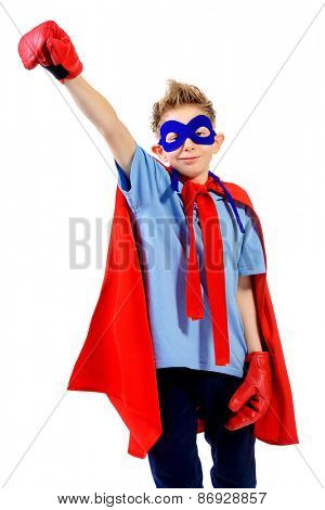 A boy teenager in a costume of superhero. Isolated over white background.