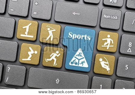 Colorful sports concept key on keyboard