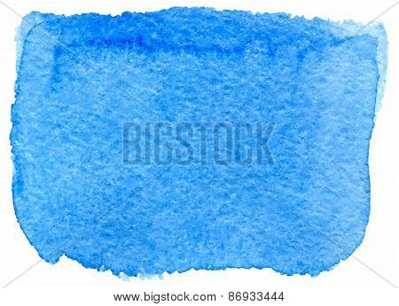 Blue watercolor paint stain painted with brush on paper, vector illustration