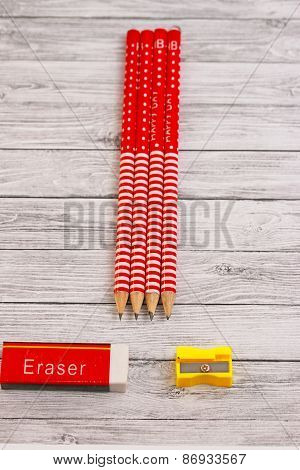 Pencils Erasure And Sharpener