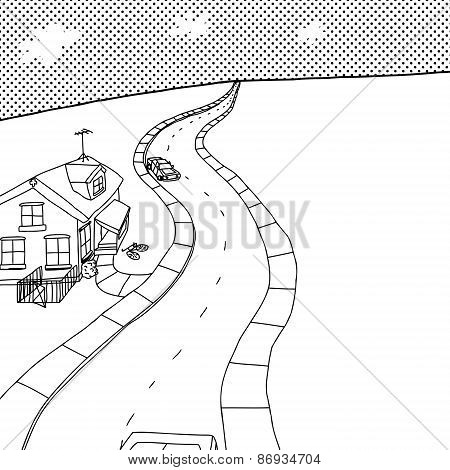 Outline Of Road With Little House