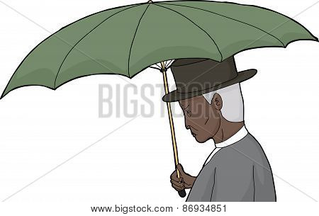 Isolated Man Holding Umbrella