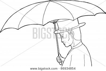 Outline Of Man With Umbrella