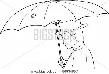 Man Under Damaged Umbrella