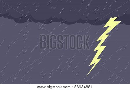 Background Of Rain And Lightening