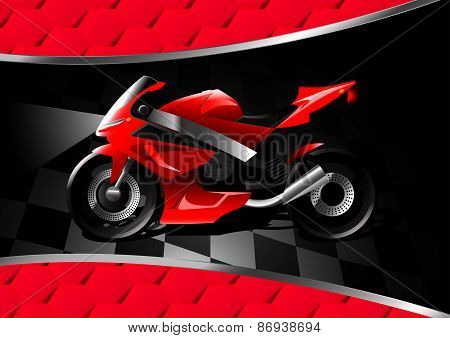 Red Motor Bike At Night On Textured Background