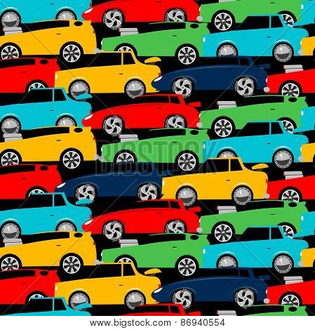 Street Racing Cars Stacked In A Seamless Pattern