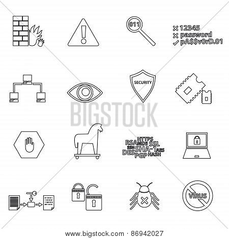 Computer Security Simple Black Outline Icons Eps10