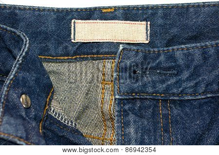Blue Jeans With White Cloth Label
