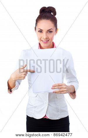 Successful  businesswoman holding blank whiteboard sign. All isolated on white background.