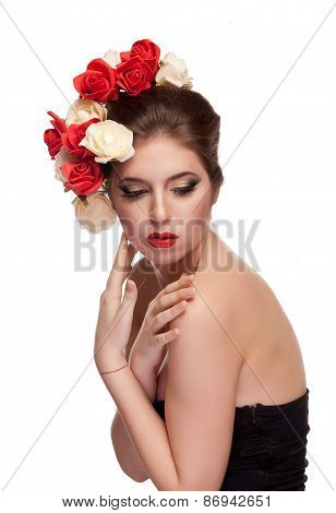 Sensual Woman In Corset On White Background