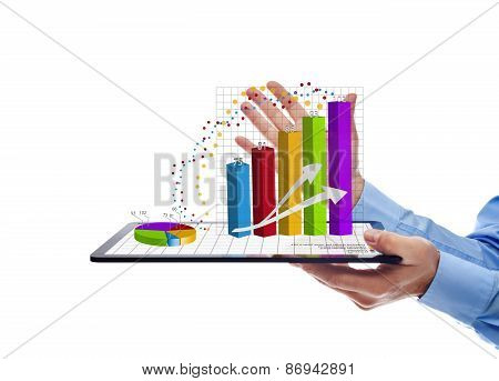 Businessman Presenting The Annual Report Charts - Isolated