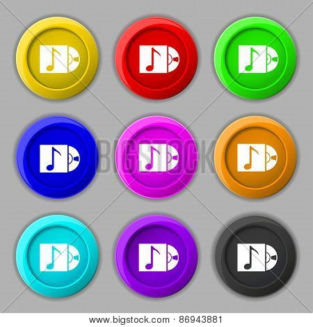 Cd Player Icon Sign. Symbol On Nine Round Colourful Buttons. Vector