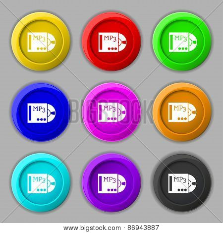 Mp3 Player Icon Sign. Symbol On Nine Round Colourful Buttons. Vector