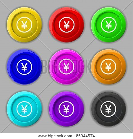 Japanese Yuan Icon Sign. Symbol On Nine Round Colourful Buttons. Vector