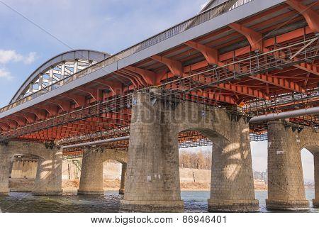 Large Bridge Highway Over The River In Seoul, Korea