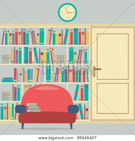 Reading Seat In Front Of A Huge Bookcase.