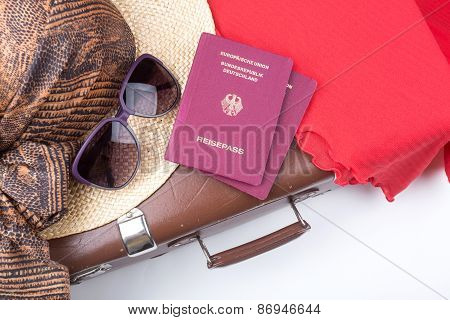 Vintage Travel Suitcase With Hat And Travel Passports