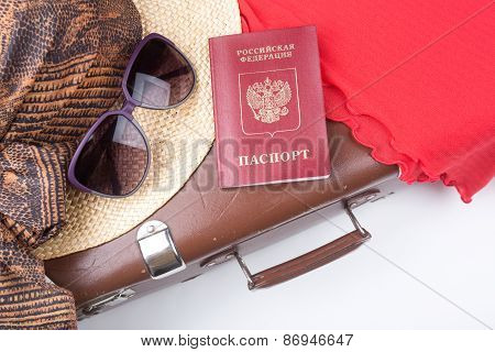 Vintage Travel Suitcase With Hat And Travel Passport