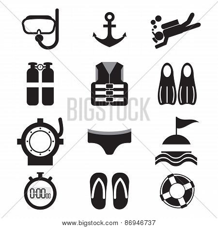 Diving Icon Set.