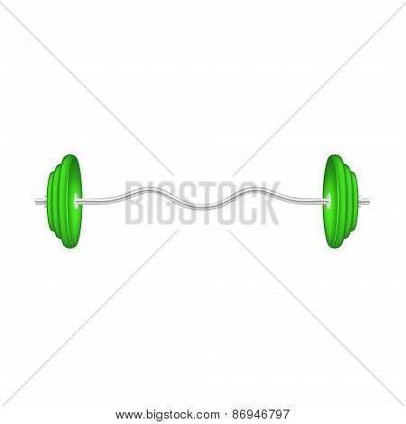 Barbell in silver and green design