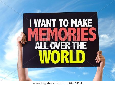 I Want to Make Memories All Over the World card with sky background