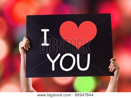 I Love You card with bokeh background