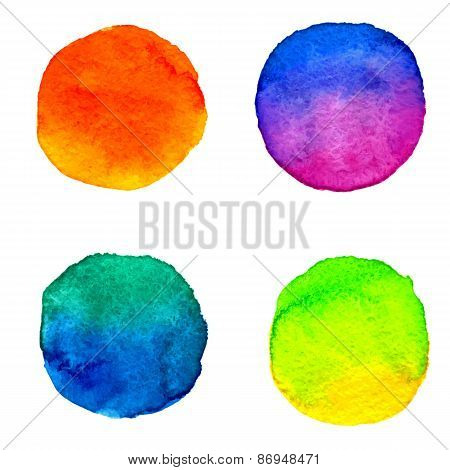 vector set 4 of round watercolor colorful paint stains