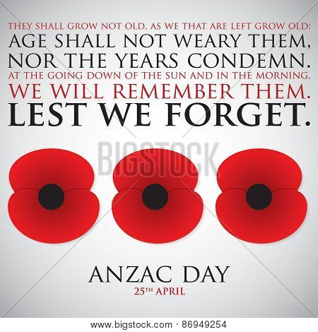 Anzac (australia New Zealand Army Corps) Day Card In Vector Format.