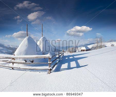 Winter Morning In The Carpathian Village