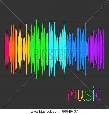Digital Abstract Equalizer. Multicolored Waveform Background. Music Card Flat Design