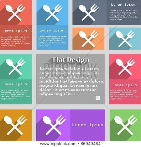 Fork And Spoon Crosswise, Cutlery, Eat Icon Sign. Set Of Multicolored Buttons. Metro Style With Spac