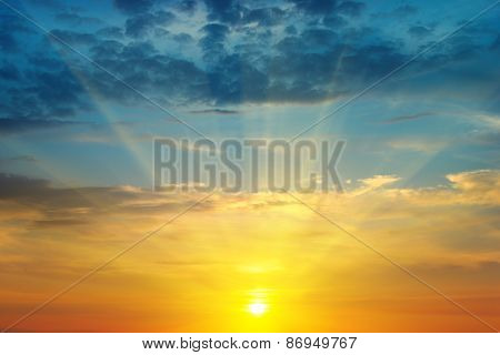 Beautiful Sunrise And Cloudy Sky
