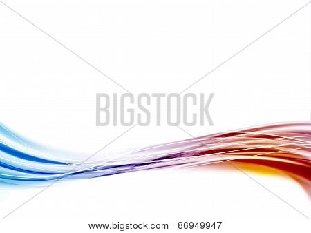 Modern Blue To Red Swoosh Wave Border Abstract Background Wave