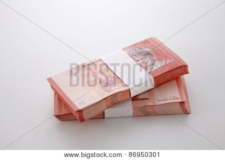 Two stack of Malaysia note ten dollars note
