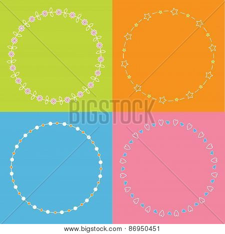 Round Frame Wreath Set Daisy Flower, Star, Leaf, Dot Element Multicolored Background Flat Design