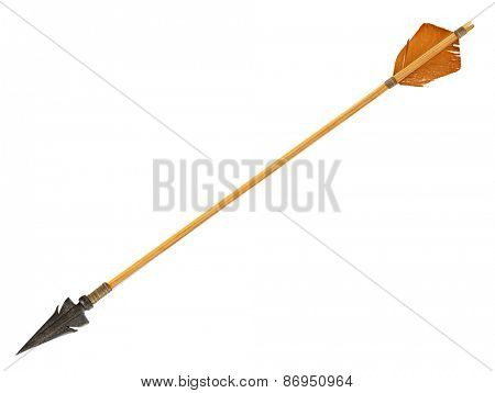 Antique old wooden arrow isolated on a white background. The army of Genghis Khan