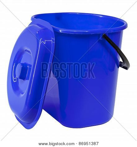 Blue Plastic Bucket With A Lid