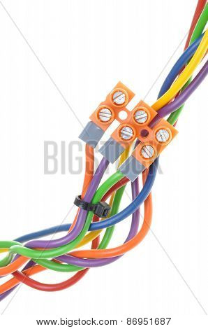 Color electric cables with terminal blocks