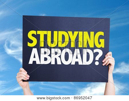 Studying Abroad? card with sky background