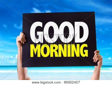 Good Morning card with beach background