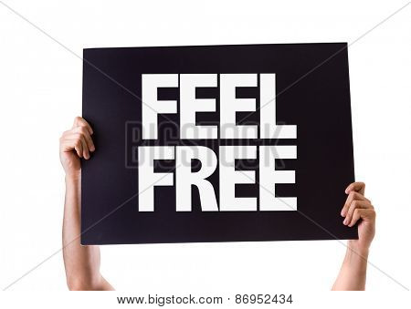 Feel Free card isolated on white