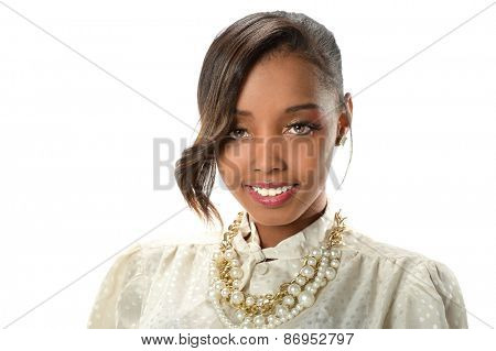 Young African American businesswoman smiling isolated over white background