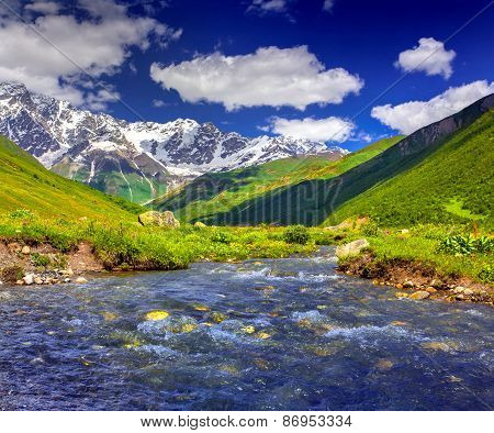 Fantastic Landscape With A Blue River In The Mountains.