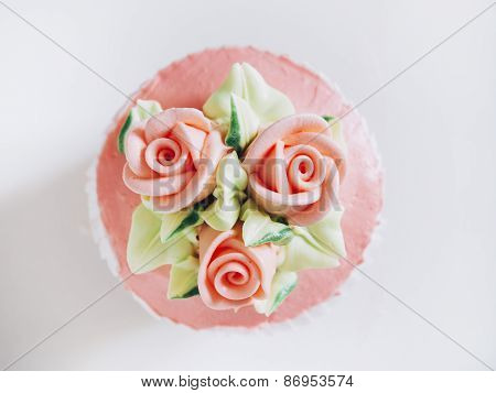 Wedding Cup Cake Dessert With Rose And Flower Decoration Top View.