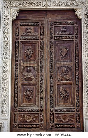 Carved Wooden Door Basilica Santa Croce Cathedral Florence Italy