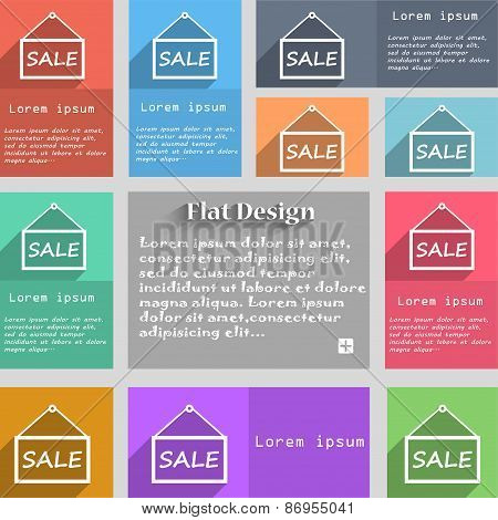 Sale Tag Icon Sign. Set Of Multicolored Buttons. Metro Style With Space For Text. The Long Shadow Ve
