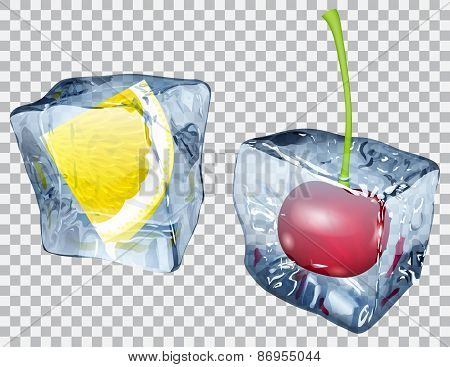 Transparent Ice Cubes With Lemon And Cherry
